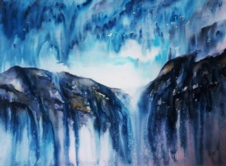 WATERFALL SKIES (watercolour, 77cms x 56cms)