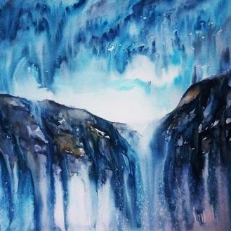WATERFALL SKIES (watercolour, 77cms x 56cms)