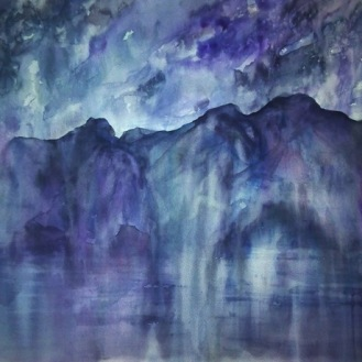 AMETHYST MOUNTAINS (watercolour, 77cms x 56cms)