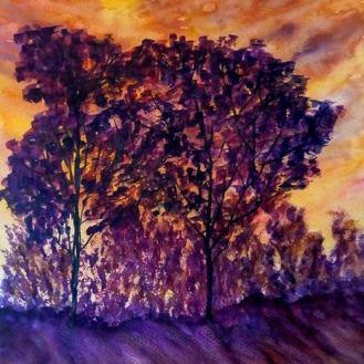 PURPLE TREES (watercolour, A3)