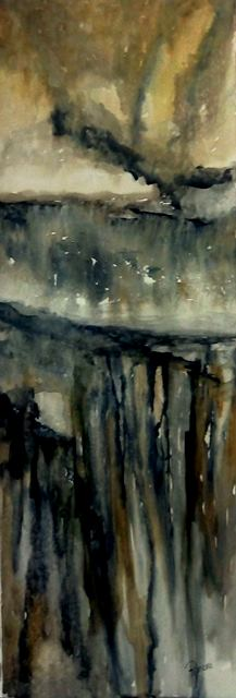CLIFFS - inspired by Inti Illimani's song, Alturas. (Watercolour 68cm x 24cm)