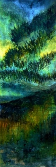SLIVERS OF EARTH (watercolour, 68cm x 24cm)