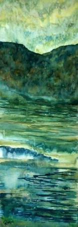 WORDS IN WATER (watercolour, 68cm x 24cm)