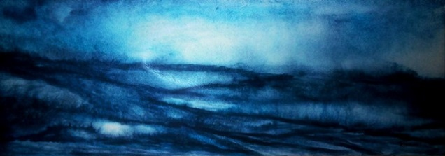 BLUE MIST (watercolour, 68cm x 24cm)