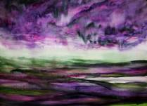 PURPLE FIELDS (watercolour 76cm x 56cm)