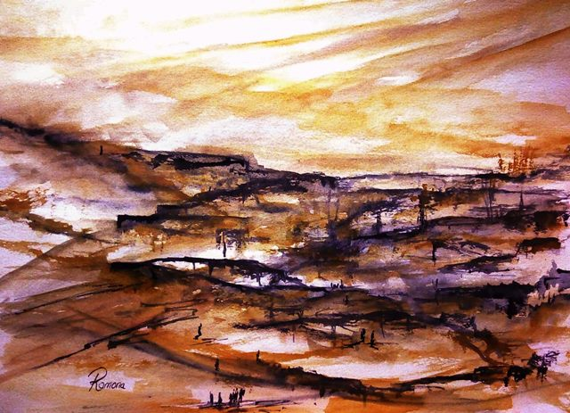 The Trail to Khan al-Ahmar. (from Impressions of Palestinian Memory in Watercolor). Ramona.